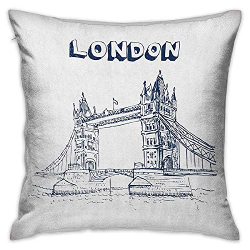 N\A London Square Kids Pillowcase Tower Bridge in London British Architecture International Culture Icon Illustration Black White Cushion Cases Pillowcases for Sofa Bedroom Car