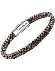 Casisto.J Bracciale pelle uomo - classico bracciale intrecciato a mano nero e marrone magnetica incisa braccialetto uomo con confezione regalo