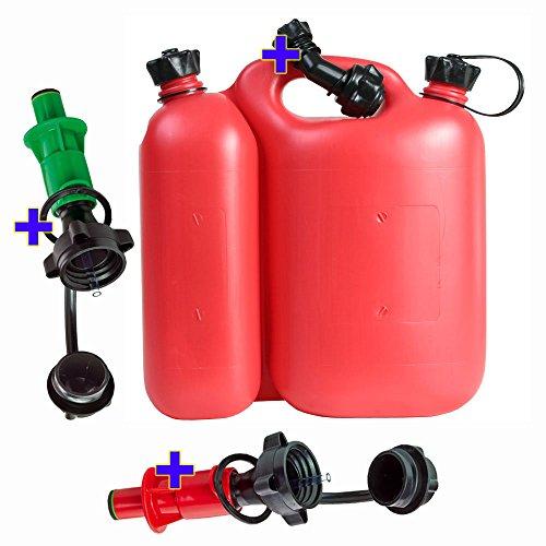 Doppelkanister 5,5+3 Liter rot inkl. 1 Ausgiesser und 2 Sicherheits-Einfüllsysteme rot und grün Kombikanister
