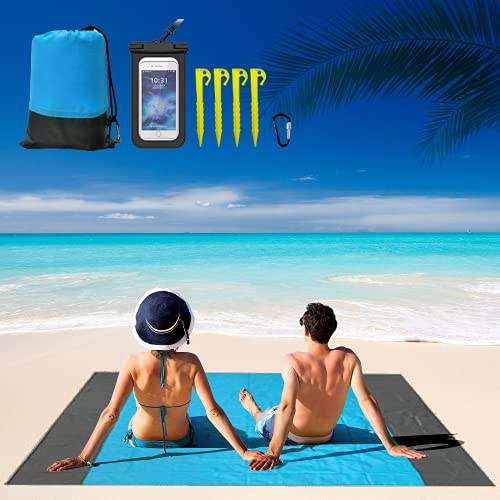 Halafs Sand Free Beach Blanket, 79''×82'' Picnic mat Beach mat for 4-7 Adults, Waterproof and Sand-Proof, Suitable for Beach, Travel and Camping, with a Free Waterproof Pouch for Cellphone