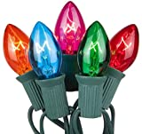 Romasaty Christmas Lights(25FT) 5 Multi-Color Outdoor&Indoor Light for Holiday Party Wedding,25 Clear C7 Light(Plus 2 Extra Bulbs)