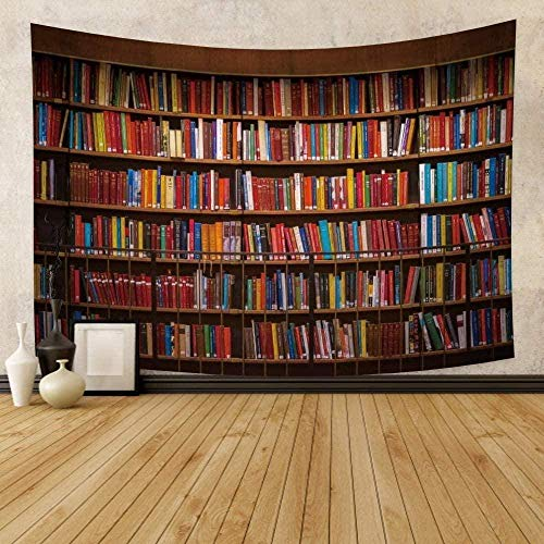 Tapiz Art Paño para colgar en la pared Impresión HD Cocina Dormitorio Sala de estar Decoración,Biblioteca Estantería Sala de estudio Escena Libros coloridos en estantería 3D Arte decortina div