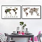 oioiu Taza de café y cafetera Mapa del Mundo póster Lienzo impresión café Arte de la Pared decoración café Icono Tinta Salpicadura Pintura decoración