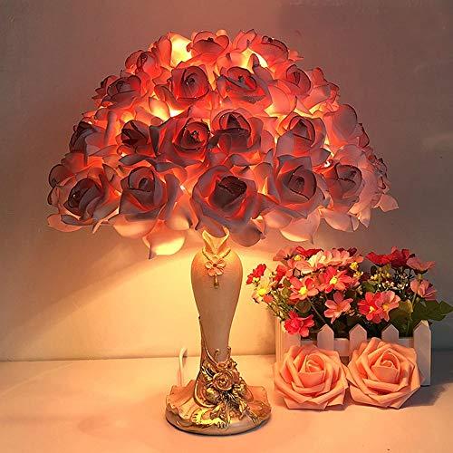 YZYZYZ Lámpara de Mesa Lámpara De Ahorro De Energía LED Incandescente Rosa Sala De Estar/Estudio/Dormitorio/Otra Rosa Roja Tejida A Mano Lámpara De Mesa Lámpara De Noche Lámpara De Noche Lámpara