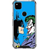 Skinit Clear Phone Case Compatible with Google Pixel 4a - Officially Licensed Warner Bros Batman vs Joker - Blue Background Design