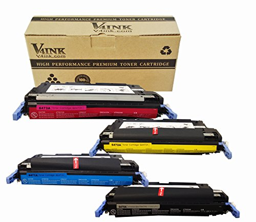 4 Pack V4INK Remanufactured 501A 502 Q6470A Q6471A Q6472A Q6473A Toner Cartridge-Black for Color LJ3600 LJ3800 CP3505