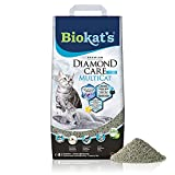 Biokat's Diamond Care MultiCat Fresh, con fragancia - Arena fina con carbón activo para hogares en los que viven varios gatos 1 saco (1 x 8 l)