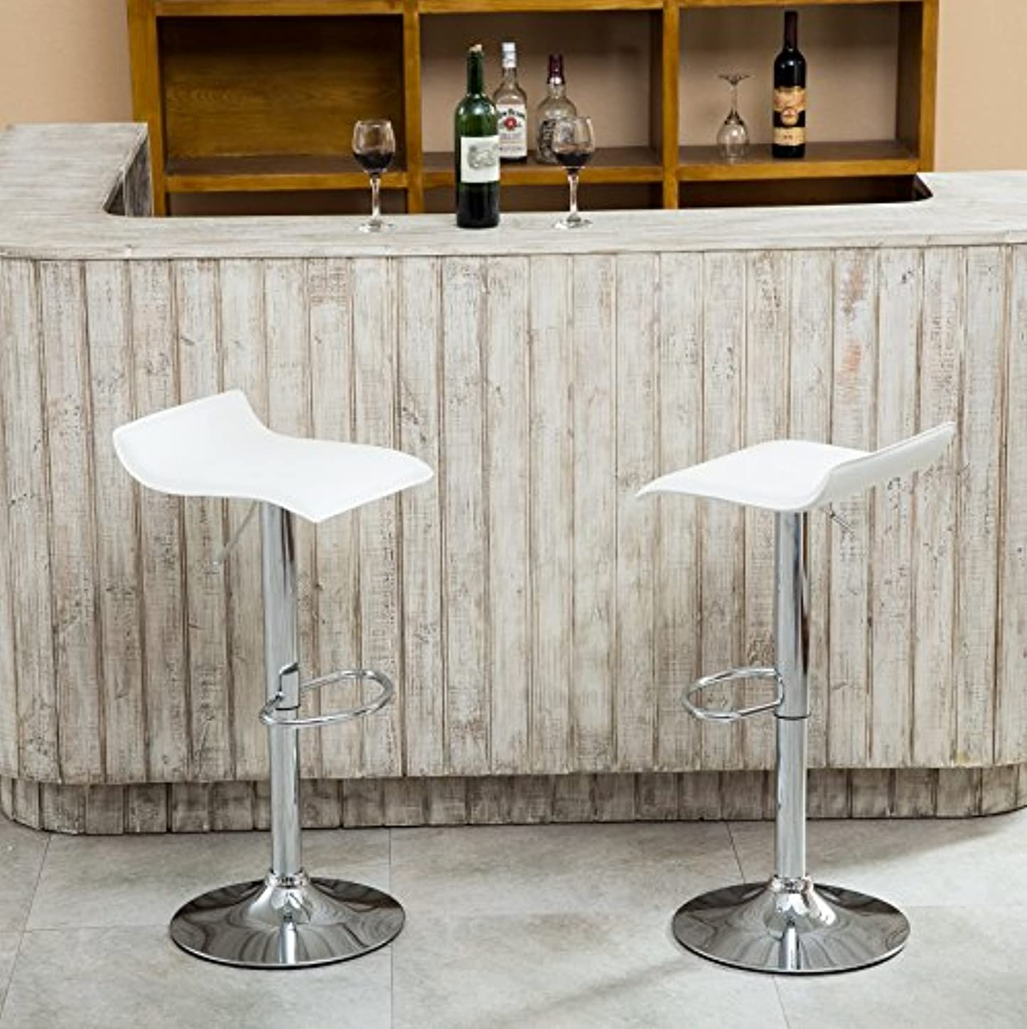 Roundhill Furniture Contemporary Chrome Air Lift Adjustable Swivel Stools with White Seat, Set of 2 wtjpnrr942680