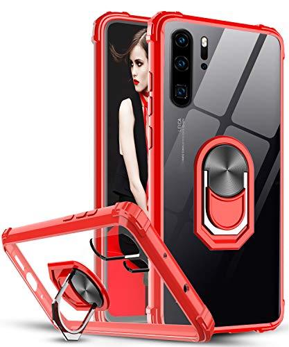 LeYi für Huawei P30 Pro Hülle P30 Pro New Edition Handyhülle,Ringhalter Schutzhülle Crystal Clear Acryl Cover Air Cushion Bumper Handy Hüllen für Case Huawei P30 Pro/P30 Pro New Edition Rot
