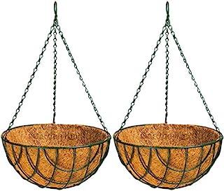 Garden King 12 Inch Coir Hanging Basket (Set of 2, Green) Eco Friendly Coir Hanging Pots for Garden