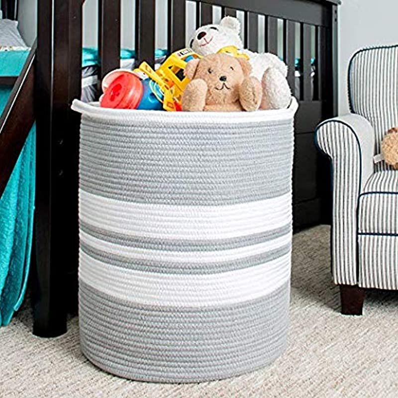 LanHeng XL Extra Large Woven Rope Storage Baskets 19 H X 16 D Decorative Organizer Bin Holder W Handles For Laundry Hamper Kids Toys Baby Diapers Towels Pillows Shoes Books Gray White