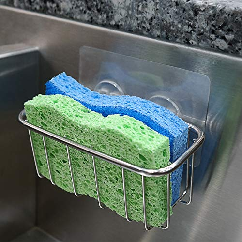 The Crown Choice Best Sponge Holder for Kitchen Sink with Strong Adhesive | Fits Two Sponges | Stainless Steel Sink Caddy for Dish Sponges