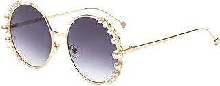 Fashion Round Pearl Decor Sunglasses UV Protection Metal Frame