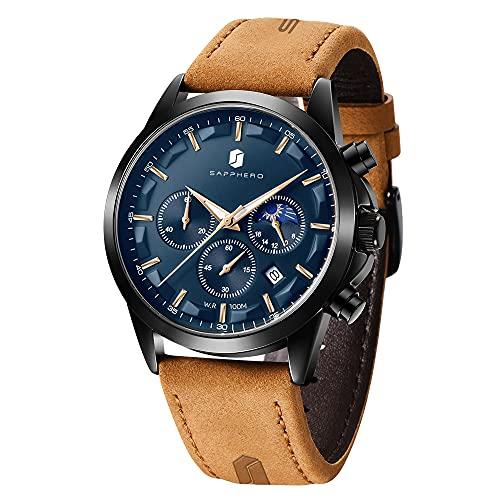 BENYAR Relojes para hombre cronógrafo reloj analógico movimiento de cuarzo 3ATM impermeable reloj de pulsera acero inoxidable y correa de cuero, Sobrw-blablue,