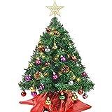 Victostar Artificial Christmas Tree Mini Xmas Pine Tree with Decorations 25 Balls Star Tree Tops 50 Warm Yellow LED Lights Indoor Decorative Mini Xmas Tree