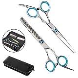 Hospaop Haarschere, Profi Haarschere Sets, Edelstahl Friseurschere Scharfe 2 Stück Zahnschere und Flachschere zum Ausdünnen und Strukturieren, Modellieren Professionelle Friseur-Sets