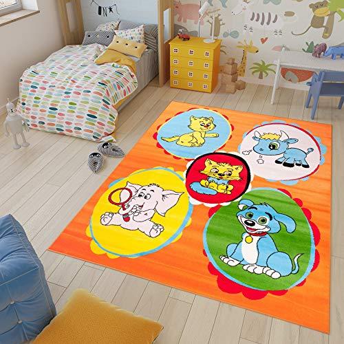 Tapiso Kinder New Alfombra Cuarto de Niños Sala de Juegos Estilo Moderno Naranja Verde Azul Animales Fina 80 x 150 cm