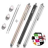 MEKO タッチペン iPad iPhone Android スマホ タブレット スタイラスペン 7mm導電繊維ペン先 交換ペン先3個+3本スタイラスペン タッチスクリーン対応(ブラック/シルバー/ローズゴールド)