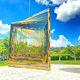 SENEMO Wind Spinner Acero Inoxidable Decoración Interior al Aire Libre Fiesta Jardín cinético Decoraciones artísticas Corte láser 3D Cuadrado Dorado 360 Grados Colgante Metal Wind Spinner
