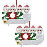 2 piezas 2020 Decoración de árbol de Navidad de Cuarentena, Decoración de Máscara de Papá Noel, Kits de Adornos de árbol de Navidad, Recuerdo Especial Colgante de árbol, Rollo de Papel Higiénico de Pa