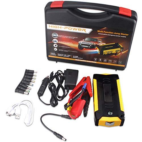 Arrancador de Coches, 69800mAh 400A Arrancador de Baterias de Coche (hasta 5.0L Gas o 2.0L Diesel, con Cargador Inalámbrico y Linterna LED, Brújula,Martillo de Seguridad