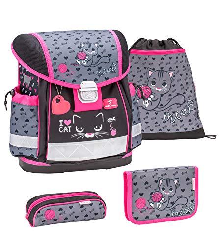 Belmil Schulranzen Set 4 - teilig ergonomischer Schulranzen Mädchen 1. klasse 2. klasse 3. klasse - Super Leicht 860-950 g/Grundschule/Katze Cat/Pink, Rosa, Schwarz (403-13 I Love Cat)