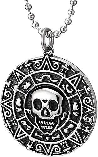 LDKAIMLLN Co.,ltd Collar de Moda para Hombre Retro Pirata cráneo Medalla de Acero Azteca Colgante Collar Moda Colgante Collar Regalo para Hombres Mujeres niñas niños