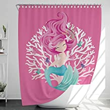Fabric Shower Curtain with 12 Hooks, Mildew/Mold-Resistant, Water-Repellent/Waterproof, Heavy-Duty, No Liner Needed, Bathroom Decor, Extra Long, 180x200cm, Mermaid, Pink