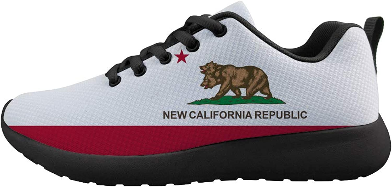 Owaheson Cushioning Sneaker Trail Running shoes Mens Womens Double-Headed Grizzly Bear New California Flag