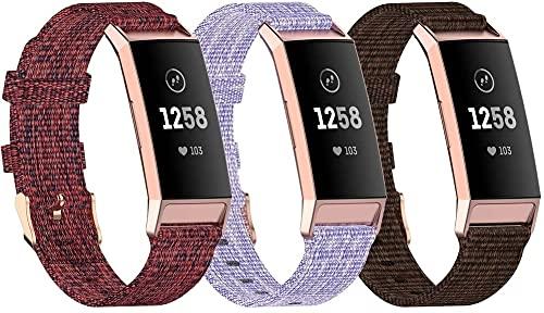 Gransho Reloj Bandas Compatible con Fitbit Charge 4 / Charge 4 SE/Charge 3 SE/Charge 3 – elección de Color, Longitud y Anchura – Correas de Nailon (3-Pack H)