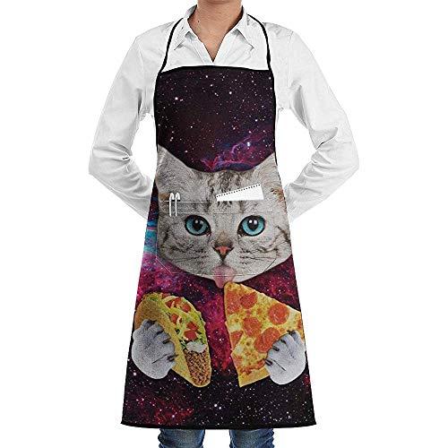 Darlene Ackerman(n) Taco Cat Pizza.jpg Delantal a Cuadros con Tirantes y Tirantes Ajustables de Cocina para Hombres y Mujeres con Corbatas Extra largas Diseño a Cuadros