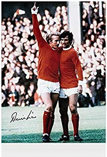 Denis Law Signed Photo With George Best - Man Utd Autograph - Autographed Soccer Photos