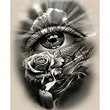 5D Pintura Diamante Painting Kit Rosas de ojos blanco y negro DIY Taladro Completo Adultos Niño Punto Cruz Cuadro Grande Puzzle Rhinestone Bordado Art Home Pared De 40x50cm