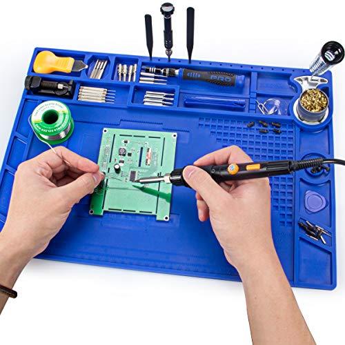 Soldering Mat, Preciva 932°F Heat-resistant Magnetic Multi-purpose Repair Mat (17.3x 12.2 inch)Anti-Static Workbench mat with Screw Position for Soldering Iron Phone and Circuit Board Repair (Purple)