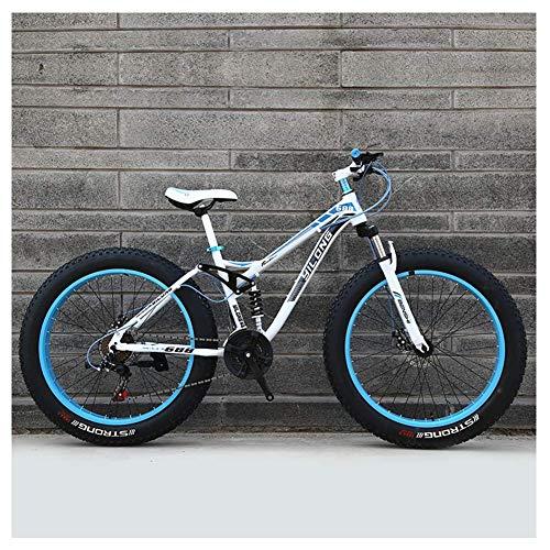 CWZY Mens Womens Mountain Bikes, High-carbon Steel Frame, Dual Disc Brake Hardtail Mountain Bike, All Terrain Bicycle, Anti-Slip Bikes,White,26 Inch 21 Speed