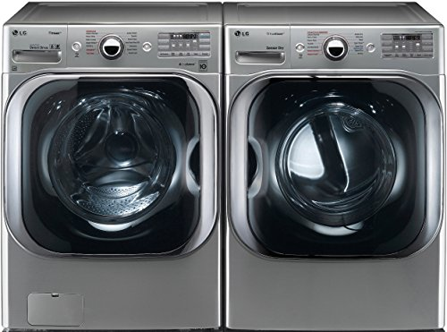 LG Graphite Steel Front Load Laundry Pair with WM8100HVA 29' Washer and DLEX8100V 29' Electric Dryer