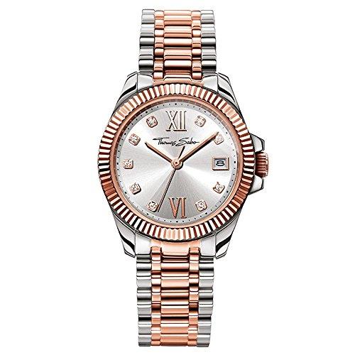Thomas Sabo Damen-Armbanduhr Analog Quarz Edelstahl WA0219-272-201-33 mm