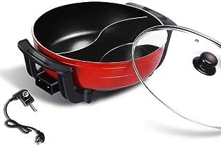 Hot Pot Fondue Classic Shabu-shabu, Double Grid Electric Hot Pot, 30cm Electric Frying Pan, Smokeless Non-Stick Electric C...