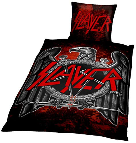 Slayer Eagle Unisex Bettwäsche Mehrfarbig 100% Baumwolle 135 x 200 cm/80 x 80 cm Bands