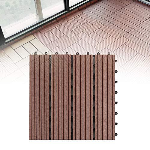 FADDARE Terrassendielen, Click-Deck-Hartholz-Terrassendielen 30 × 30 cm, Korrosionsschutz-Bodenbeläge für Terrassen, Balkon, Dachterrasse, Whirlpool