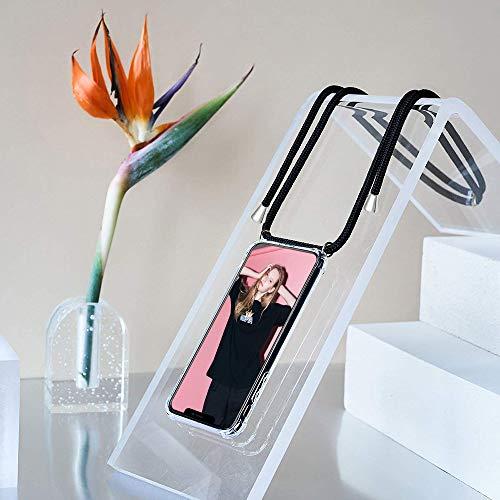 Handykette Kompatibel mit Huawei P8 Lite 2017 Hülle, Smartphone Necklace Schutzhülle, mit Band Stylische Transparent Stoßfest Kratzfest Silikon Handyhülle – Schnur mit Case zum Umhängen in Schwarz - 6