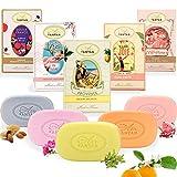 Un Air d'Antan® 4er Set – Vintage Sanfte Stückseife mit Bio-Ölen - Parfums : Rose, Süße...