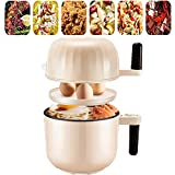 Electric Skillet Mini with Steamer Multi-Cooker Electric Frying Pan 1.5L Electric Wok Small Electric Hot Pot Stock Pot Non-Stick Portable for Dormitory Travel Home Kitchen Office