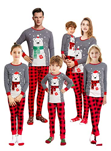 KikizYe Polar Bear Plaid Pajamas Baby Infant Holiday Christmas Merry Christmas Matching Family Long Sleeves Grey Pajamas Set Size 18-24M