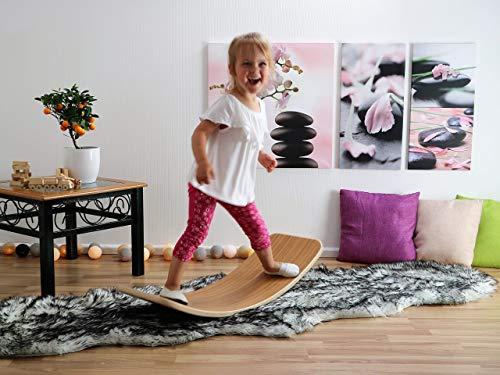KateHaa Small Teak Wooden Balance Board, Montessori wooden toy, Rocky balance board, Yoga board