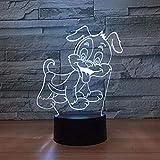 A-Generic Luz de Noche Preciosa ilusión de Perro francés Lámpara de Mesa táctil 3D 7 Colores Luz LED Intermitente para la decoración del hogar de Navidad y Regalo para niños