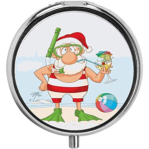 Doodle of Santa Claus op tropische zomer vakantie Flippers Snorkel Cocktail Pill Box/case - 3 -Compartment Pill Box/Pill case