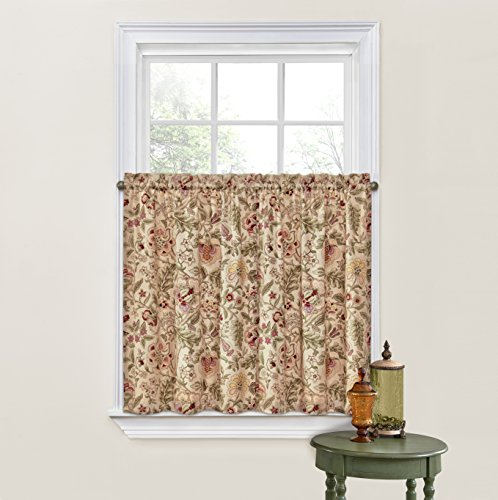 """Waverly Kitchen Curtains for Windows - Imperial Dress 52"""" x 36"""" Small Window Panel Tiers Privacy Window Treatment Pair Bathroom, Living Room, Antique"""