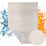 Heavy Duty Welding Blanket, 24 x 31.2 inches Fiberglass Fire Blanket with Grommet, 1035GSM Fire Retardant Blanket Up to 2000 °F with Gold + Silver Double Coating for Industrial/Home