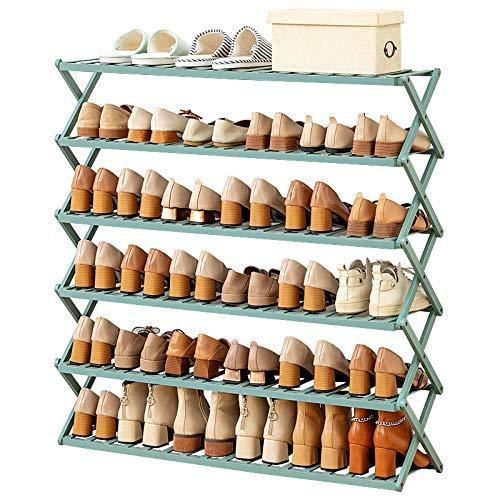 SHDS Zapatero de 6 Niveles estantes de bambú Plegables para Zapatos 100% Natural y renovable Organizador de Almacenamiento con Soporte de diseño en Forma de X exhibición de Plantas para 24-30